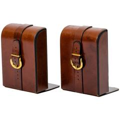 Equestrian Leather and Brass Buckle Bookends