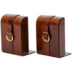 Satteltaschen-Buchstützen aus Leder mit Messing-Schnallen
