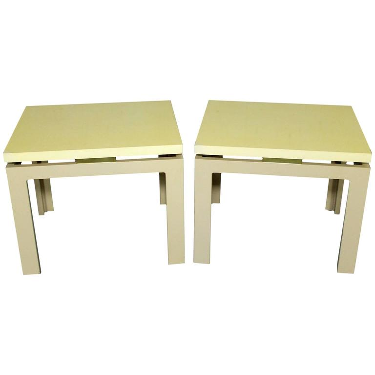 Pair of Modern, circa 1970s Off-White Lacquered Parsons Side Tables