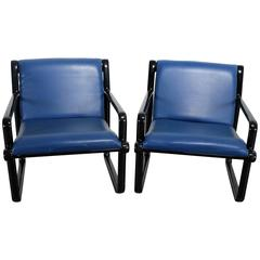 Pair of Hannah Morrison for Knoll Sling Armchairs in Black and Blue