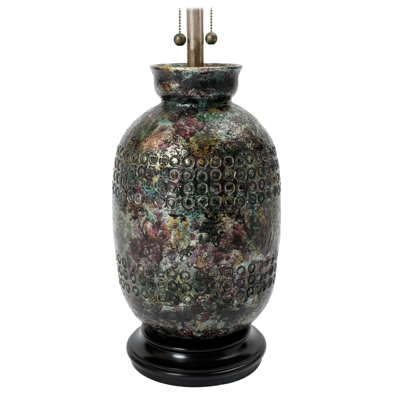 Monumental 1950s Italian Metallic Jewel Glaze Ceramic Lamp