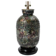 Monumental 1950s Italian Metallic Jewel Glaze Ceramic Lamp