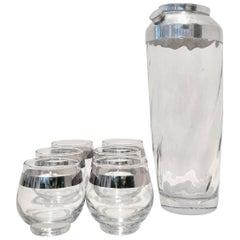 Hollywood Regency Dorothy Thorpe Sterling Silver Glass Drinks Set of Nine