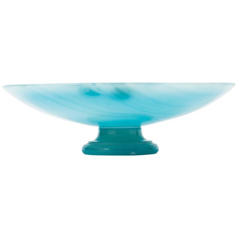 Italian 1960s Aquamarine Alabaster Tazza Centerpiece Bowl