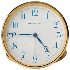 Tiffany Swiss Travel Clock with Leather Case