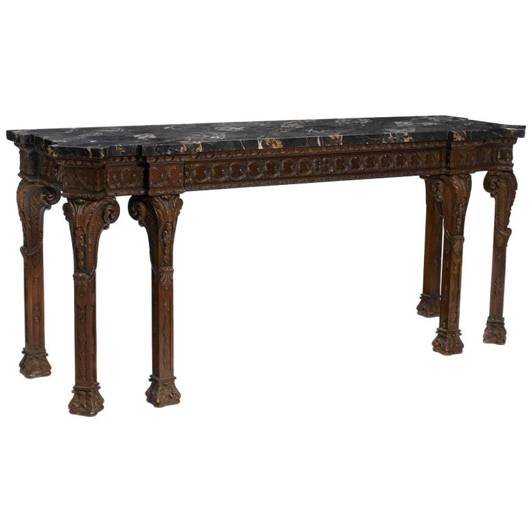 George III Style Carved Walnut Console, 19th Century
