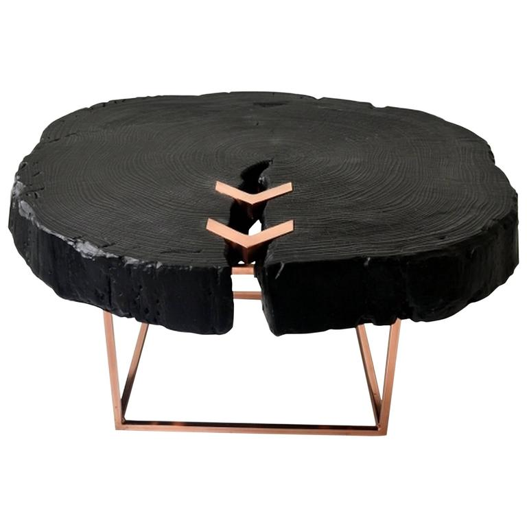Copper Wooden Coffee Table: Character Coffee Table, Contemporary Modern, Wood And