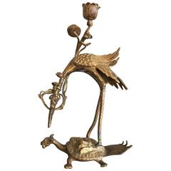 Japanese Gilt Bronze Candlestick Figure of a Crane on a Turtle, 19th Century
