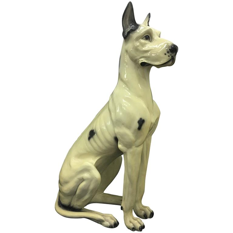 italian art deco ceramic dog circa 1930 for sale at 1stdibs. Black Bedroom Furniture Sets. Home Design Ideas