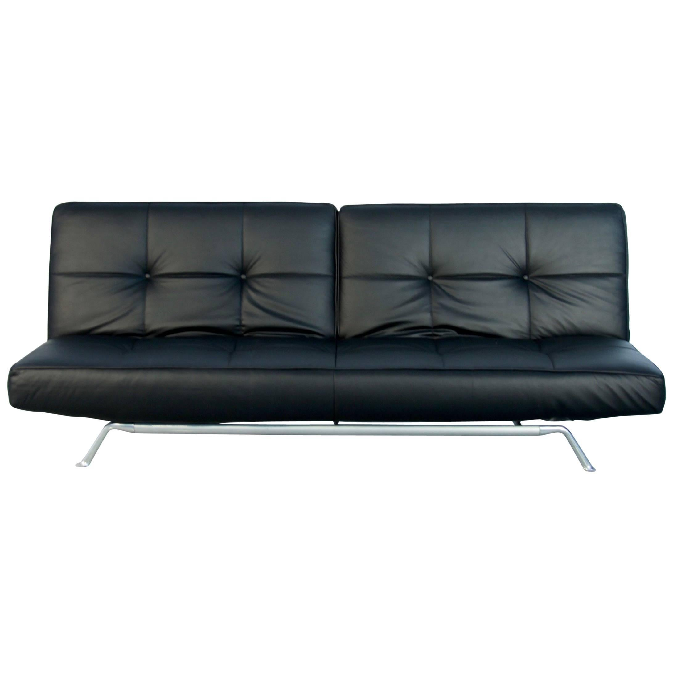 Prime Vintage Smala Black Leather Adjustable Sofabed By Pascal Pabps2019 Chair Design Images Pabps2019Com