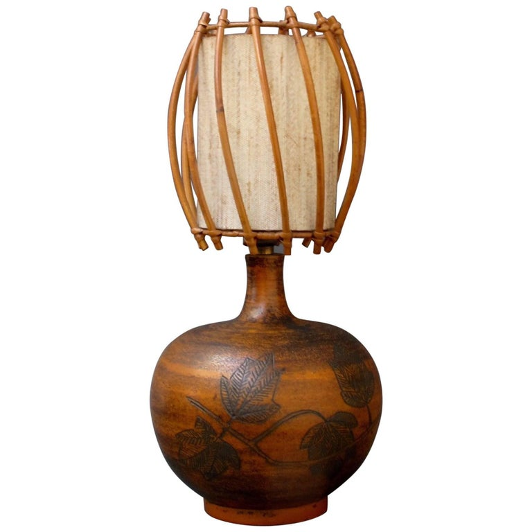 Ceramic Lamp by Jacques Blin with Original Rattan Shade, circa 1950s