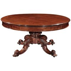 19th Century mahogany dining table with unusual wind-out mechanism
