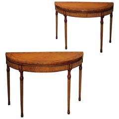 Fine Quality Pair of Adam Period Satinwood and Gilt Card Tables