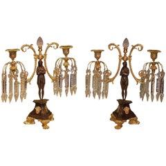 19th Century bronze and ormolu two light lustre candlesticks