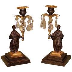 Chinamen Bronze und Ormolu Glanz Kerzenleuchter, 19. Jahrhundert