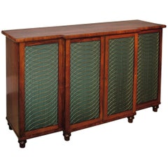 Regency period rosewood chiffonier with green pleating