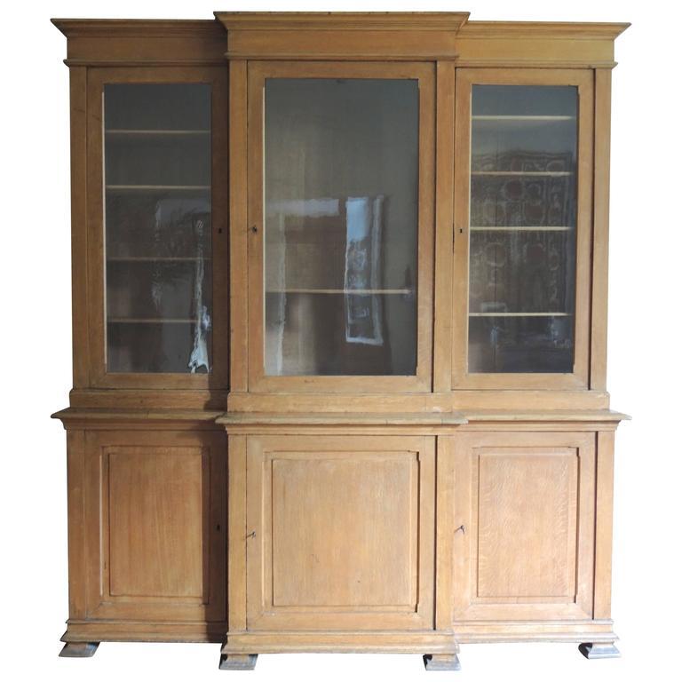 19th Century Belgian Oak Breakfront Bookcase