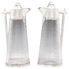 Art Deco Wine Jugs in the manner of Christopher dresser.