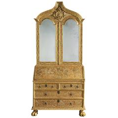 George I Giltwood Secretaire Bookcase Made for the Portuguese Royal Court