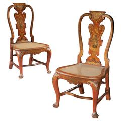 Pair of George II Scarlet Japanned Side Chairs from Lazcano Palace