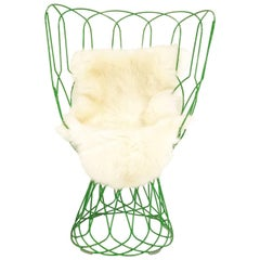 Patricia Urquiola Green Re-Trouve Highback Chair with Sheepskin
