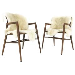 Vintage Paul McCobb Captain Chairs with Brazilian Sheepskins, Pair