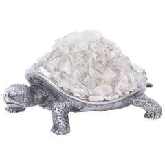 Mid-Century Pewter and Geode Turtle Sculpture