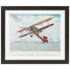 1950s Framed Aviation Prints of Fighter Planes by Charles Hubbell