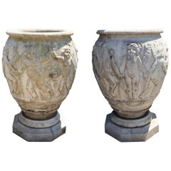 Pair of Large Antique Italian Marble Urns with Dancing Cherubs