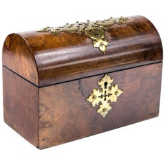 Simpson & Co. English 1850 Burl Walnut Dome Keepsake/Letter/Memory/Treasure Box
