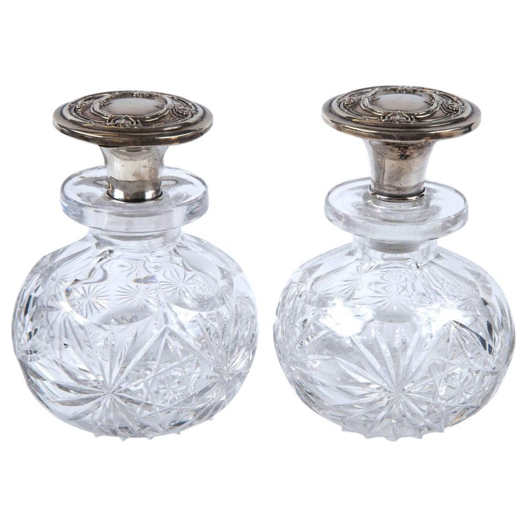 Pair of Antique American 1890 Sterling Silver Top Perfume Bottles Crystal Bottom