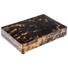 19th Century English Tortoiseshell Box 1820 Gothic Look with Feet
