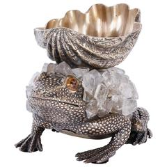 Mid-Century Brass and Geode Frog Sculpture