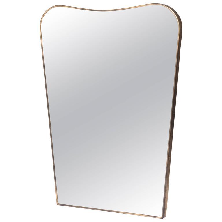 Mirror in slim brass frame, Italy circa 1950