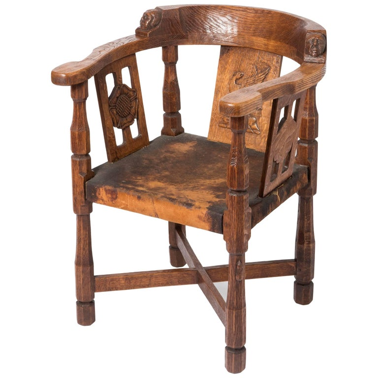 Robert mouseman thompson carved oak quot monk chair england