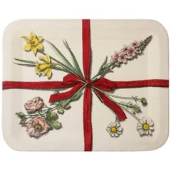Piero Fornasetti Metal Tray with Flowers and Ribbons, Italy, circa 1950
