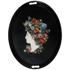 "Piero Fornasetti Metal Serving Tray ""Flora"", Italy, circa 1960"