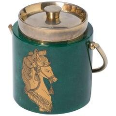 Aldo Tura green lacquered parchment ice bucket, Italy, circa 1940