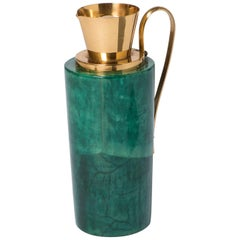 Aldotura Green Lacquered Parchment Carafe with Brass Mounts, Italy, circa 1940