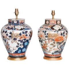 Medium Pair of Lamped Imari Vases