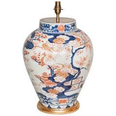 Large Blue and White Japanese Porcelain Vase as a Lamp, Early 18th Century