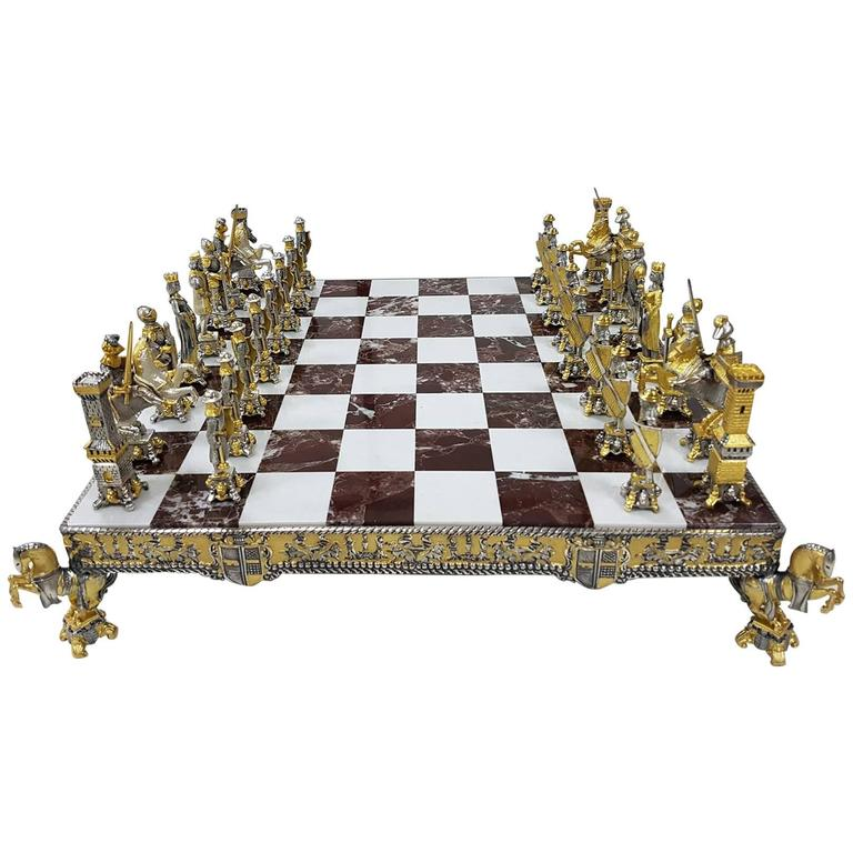20th Century Italian Sterling Silver Chess Board and Chess Game. Made in Italy