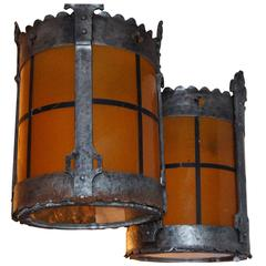 Pair of Leaded Glass Lanterns