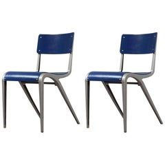 Pair of Industrial Cast Aluminium Chairs Designed James Leonard, 1948
