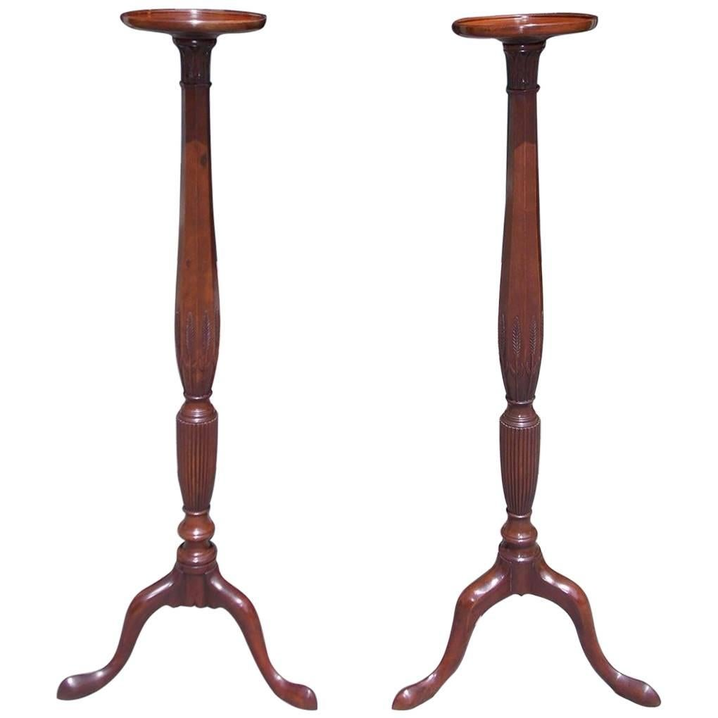 Pair of English Chippendale Mahogany Carved Wheat Torchiers, Circa 1770