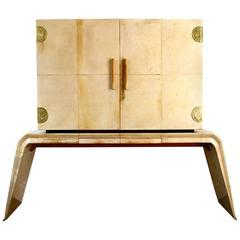 Valzania Parchment Cabinet with Mirrored Interior, Italian, circa 1938