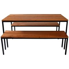 Atsuko Table with Nesting Benches, Dining Table, Contemporary Modern