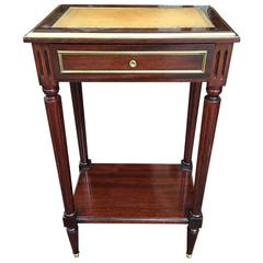 French Directoire Style Side or End Table with a Leather Top, Late 19th Century