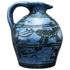 Small Blue Ceramic Jug by Jacques Blin, circa 1950s