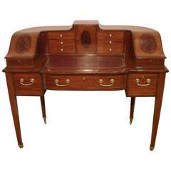 English Edwardian Mahogany and Kingwood Carlton House Desk
